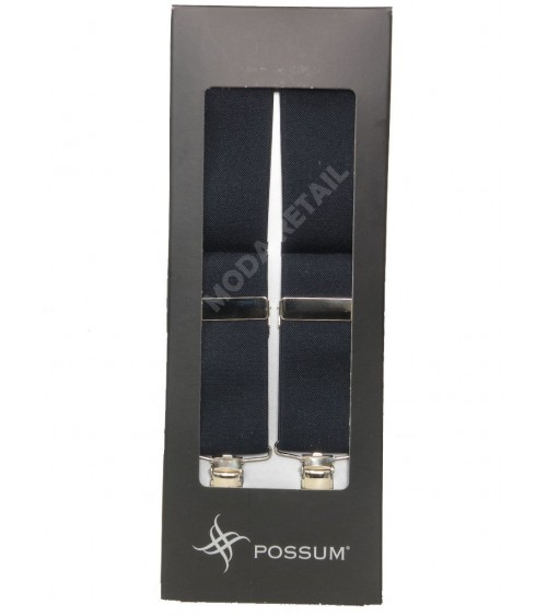 Men's Adjustable Suspenders Braces POSSUM Clip-On Black / Grey / Blue