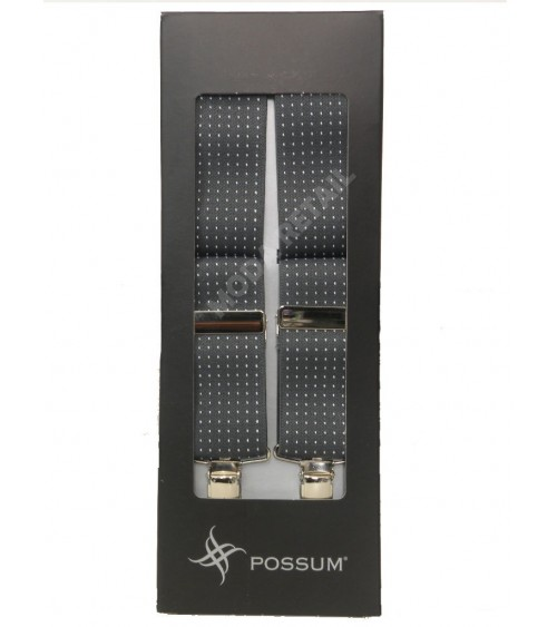 Men's Adjustable Suspenders Braces POSSUM Clip-On with dots