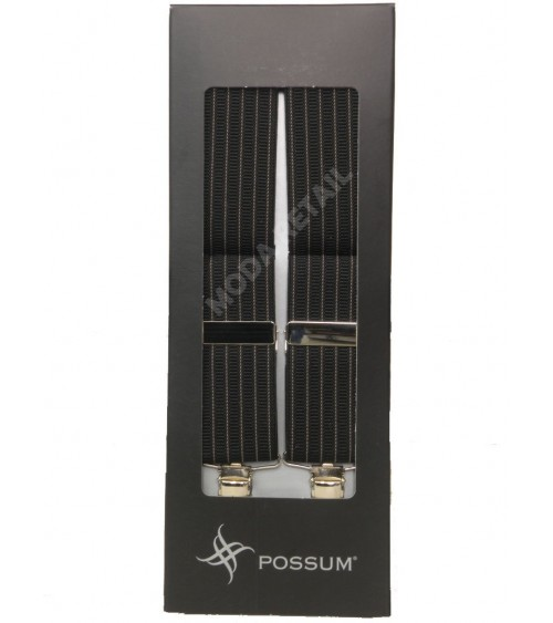 Men's Adjustable Suspenders Braces POSSUM Clip-On with stripes