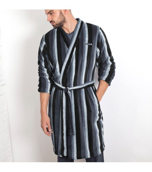 Mens Dressing Gown ADMAS Soft Winter Nightwear Warm Grey Stripes