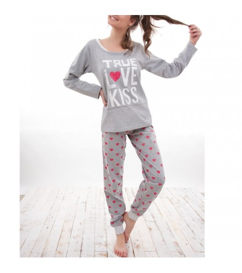 "Pyjama FEMMA Hiver 100% COTON ""PEACE & LOVE"" L-XXL"