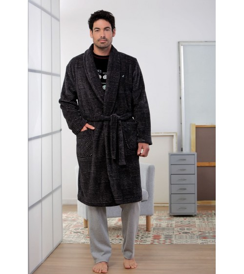 Mens velvet Dressing Gown MASSNA Winter Nightwear (striped black)