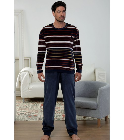 Striped VELVET Mens Pyjamas Winter Massana