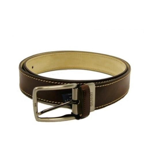 Mens Brown Leather Belt GILMART Top Quality Dress Belt