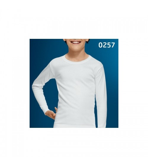 Kids White Thermal Undershirt Crew Neck Long Sleeve 100% Cotton