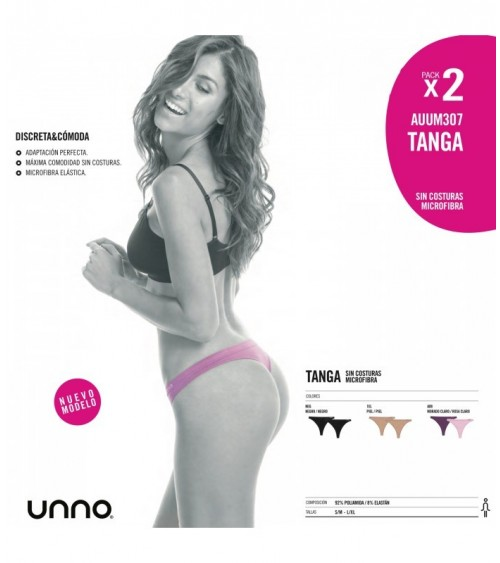 Pack 2 Tangas sin Costuras Unno color Negro o Piel