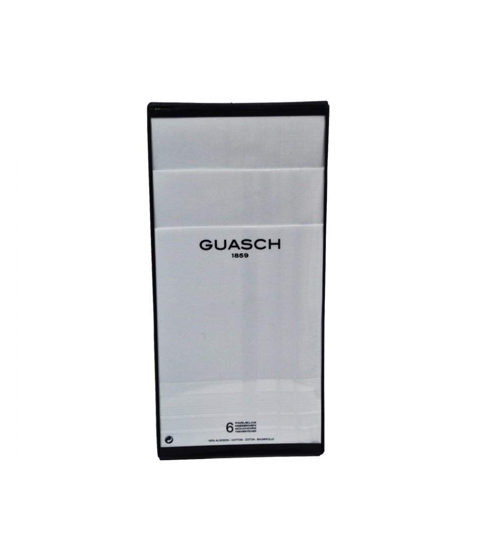 Mens 6-Pack Top Quality Handkerchiefs GUASCH 100% Cotton White Boxed Set