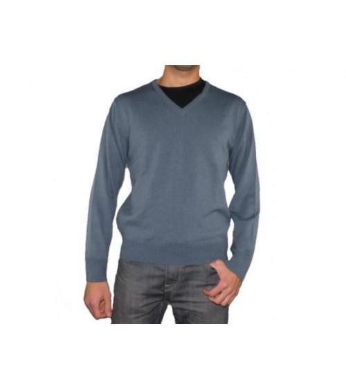 Mens V Neck Jumper LEON Soft Knit Wool Sweater Pullover S M L XL XXL 3XL 4XL