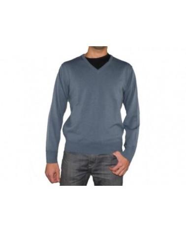 Mens V Neck Jumper LEON Soft Knit Wool Sweater Pullover S M L XL XXL 3XL 4XL