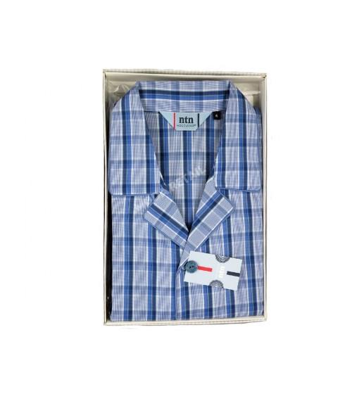 Pijama de ropa clásico de algodón con elastano Nocturno abierto manga larga