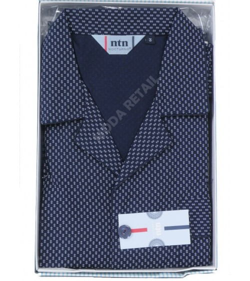 Mens Classic Pyjama Set cotton nightwear Nocturno dark blue