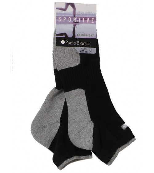 Mens 2-Pack PUNTO BLANCO Ankle Socks with DEODORANT technology