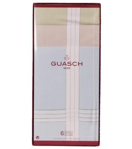 Caja 6 Pañuelos Hombre Guasch Fondo Color 100% Algodón
