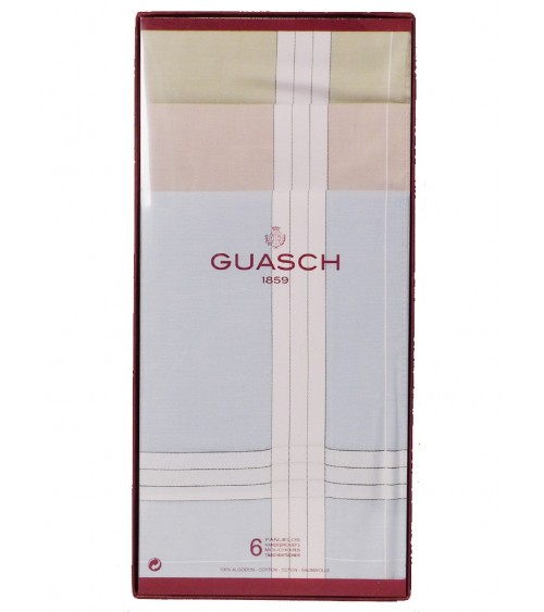 Men's Handkerchiefs lot 6 GUASCH 100% Cotton Boxed Set Multicolor