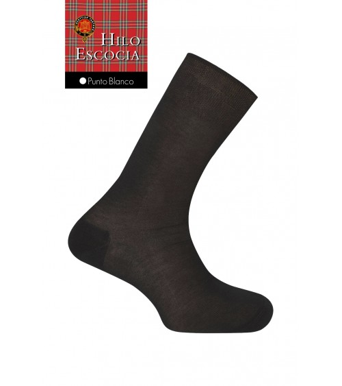 Mens 100% Cotton Lisle Scottish Thread Dress Summer Socks Punto Blanco