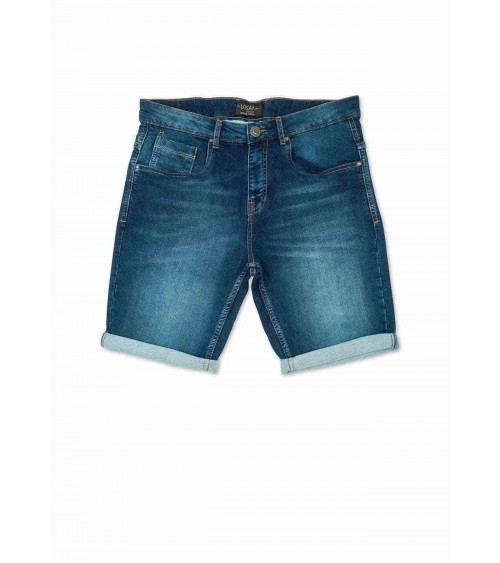 Denim effect knit shorts.