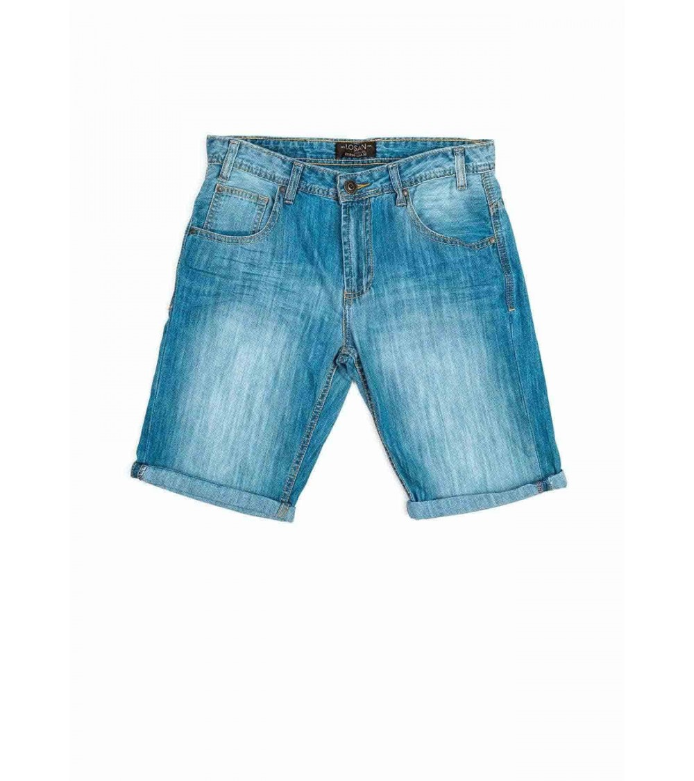 5-pocket denim roll-up shorts.