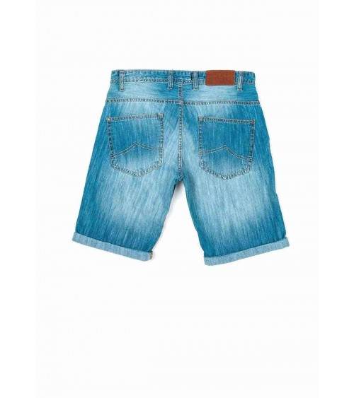 5-pocket denim roll-up shorts.