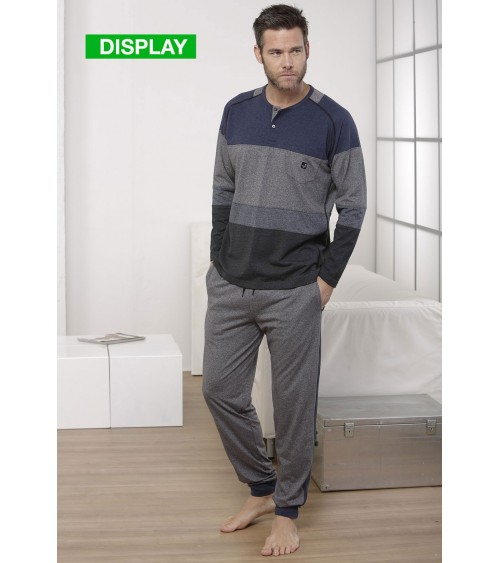 Mens Pyjamas Winter Massana Grey & Blue