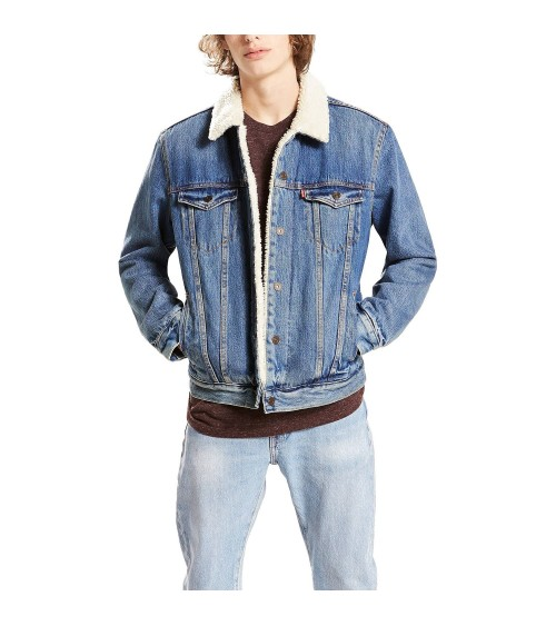 Mens DENIM LEVI'S JACKET SHERPA TRUCKER JACKET