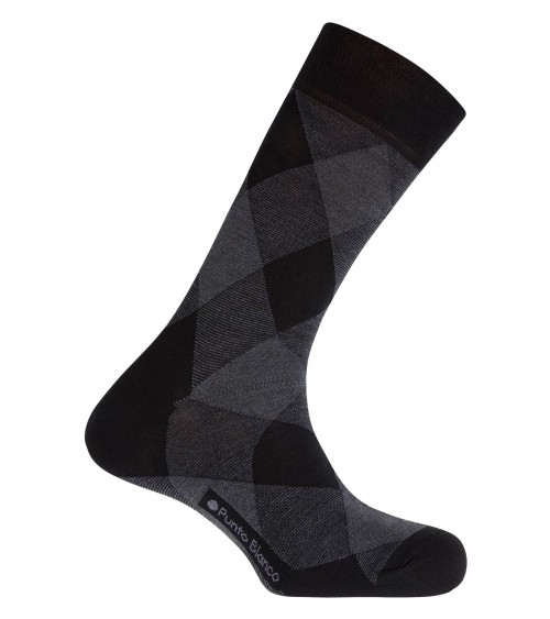 Men Thin wool sock big diamonds Punto Blanco