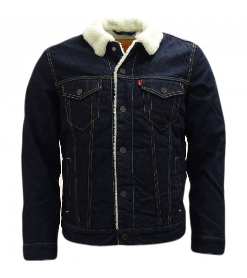 Mens DARK DENIM LEVI'S JACKET SHERPA TRUCKER