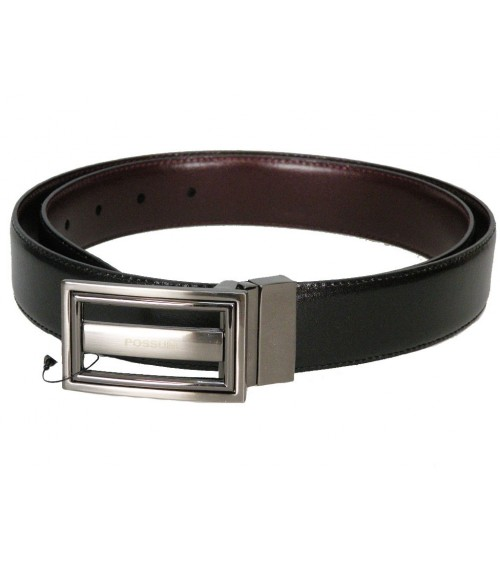 Mens Top Quality Leather Belt POSSUM Reversible Black/Brown