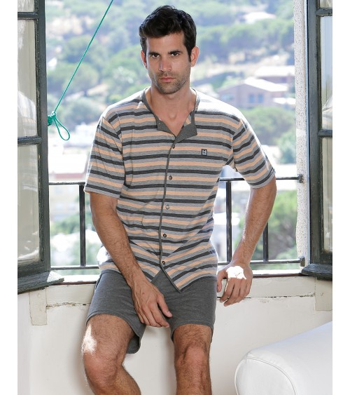 Summer Mens Pyjama Sets Massana Open Front