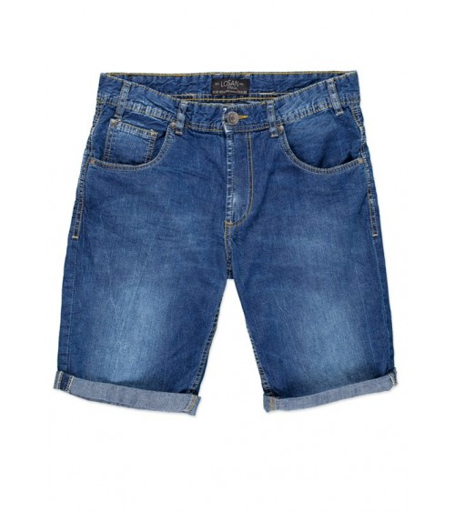 Denim shorts with ornamental stitching detail