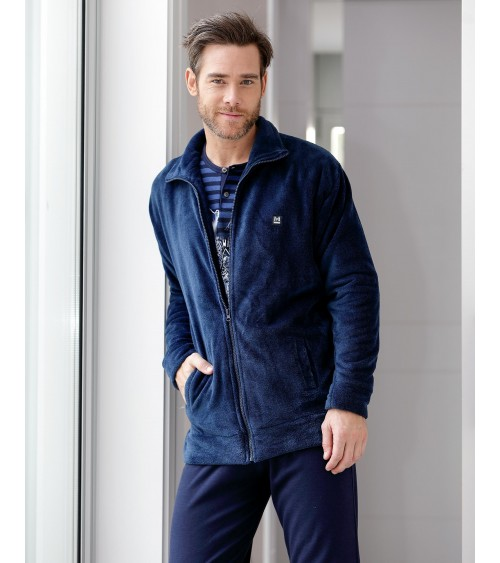 Mens short velvet Dressing Gown MASSNA Winter Nightwear