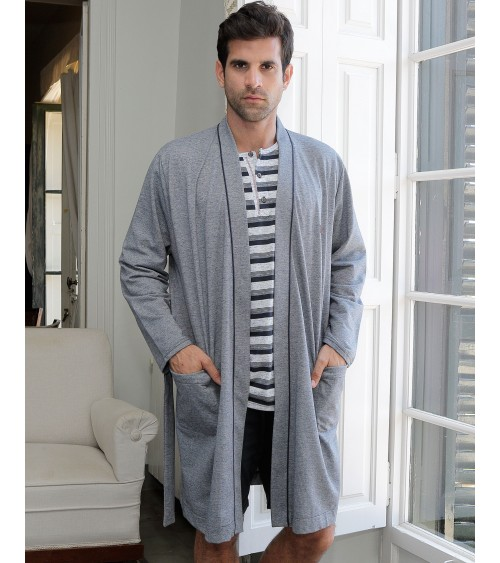 Mens Grey Dressing Gown MASSNA Summer Nightwear