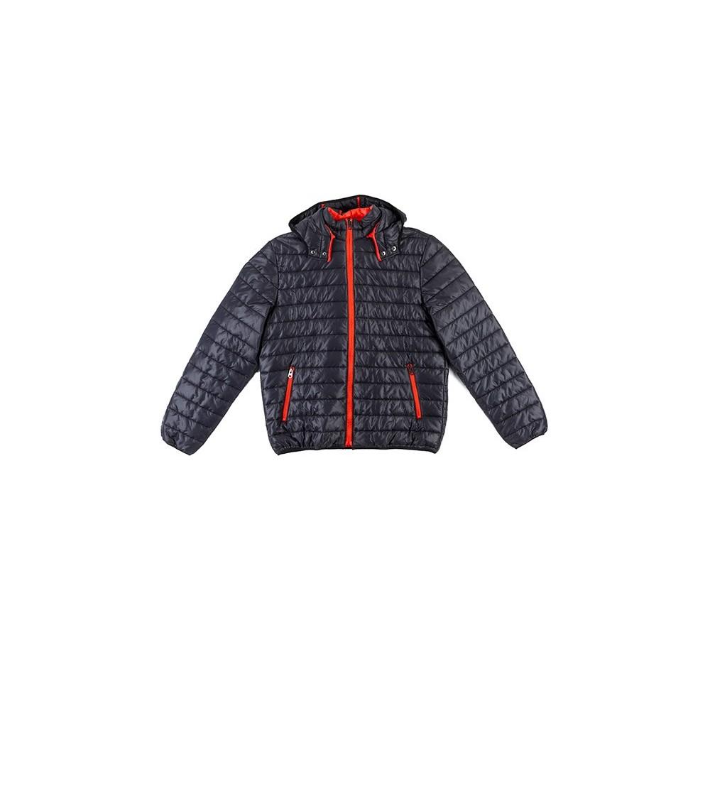 Basic lead grey padded parka coat with sachet