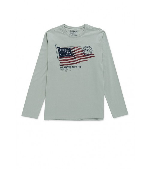 Grey Losan tee with flag motif