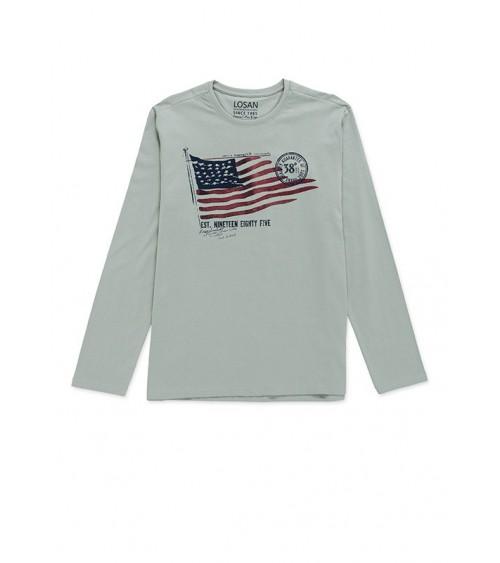 Losan Tee-shirt gris avec motif drapeau