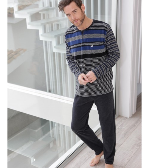 VELVET Mens Pyjamas Winter Massana Blue Stripes