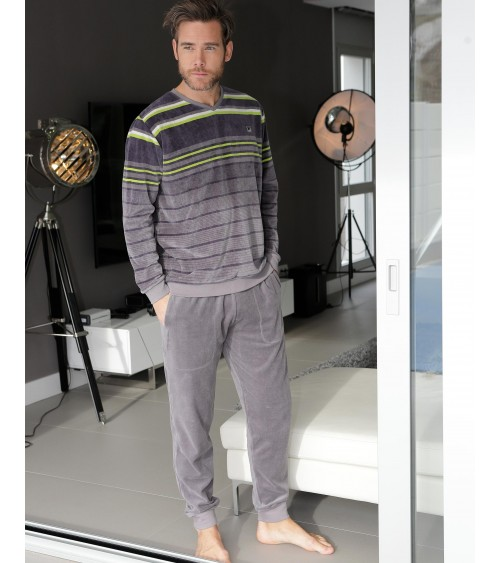 VELVET Mens Pyjamas Winter Massana Grey Stripes