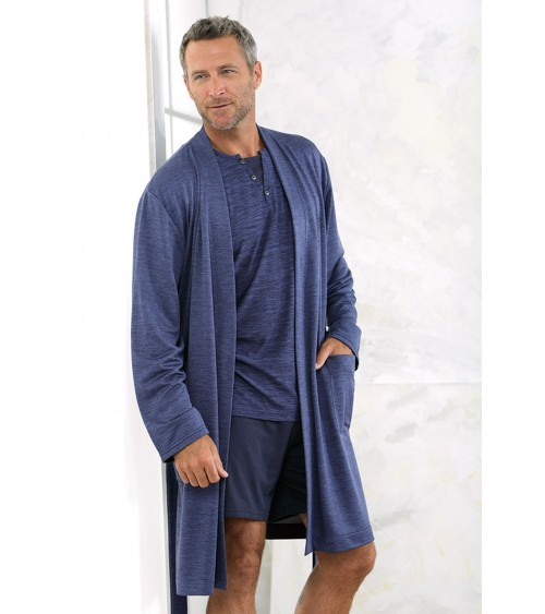 Mens thin Dressing Gown MASSANA Soft Nightwear blue