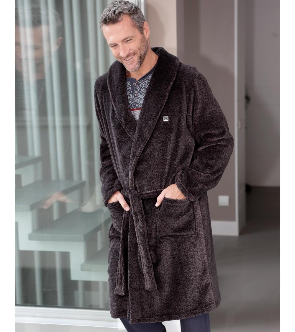 Mens short velvet Dressing Gown MASSNA Nightwear
