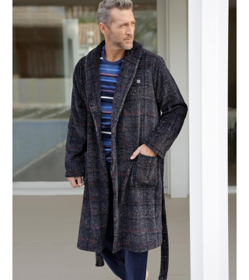 Mens Dark Grey velvet Dressing Gown MASSNA Nightwear