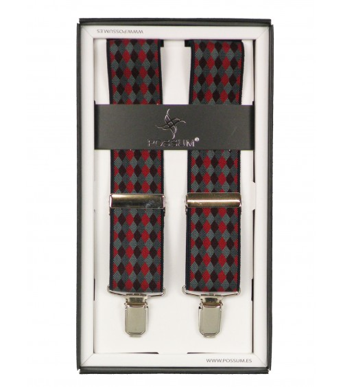 Men's Adjustable Suspenders Braces POSSUM Clip-On DIAMONDS