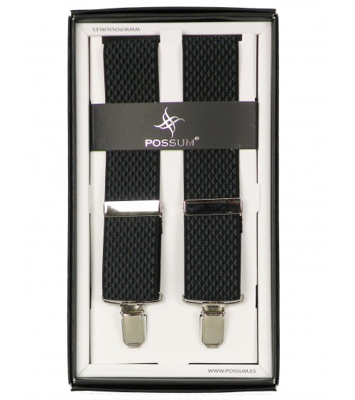 Men's Adjustable Suspenders Braces POSSUM Clip-On