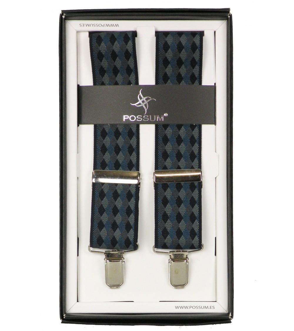 Men's Adjustable Suspenders Braces POSSUM Clip-On