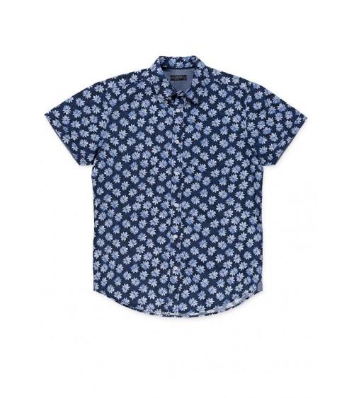 Camisa Losan azul con flores estampadas