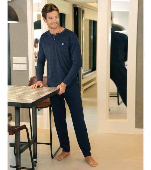 Pijama de Hombre Fino de Invierno Massana con Cuello abierto