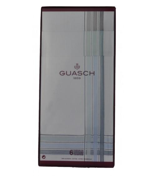 Coffret 6 Mouchoirs Homme Guasch Fond Blanc 100% Coton