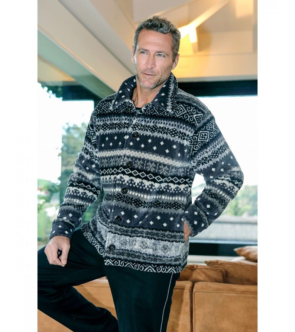 Mens short velvet Dressing Gown MASSNA Christmas Nightwear