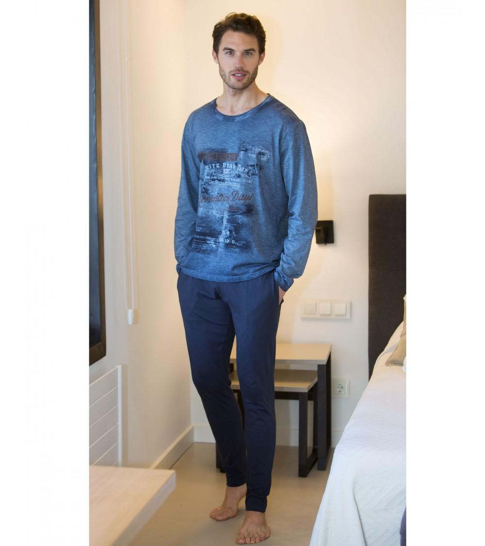 "Ensembles de pyjamas 100% coton hiver hommes MASSANA ""WILD LIFE"""