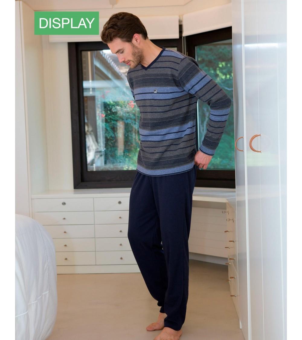 VELVET Mens Pyjamas Winter Massana Blue Stripes