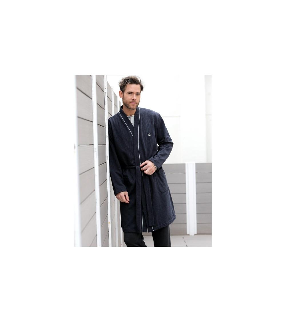 Robe de Chambre fin Homme Hiver MASSANA gris carreaux