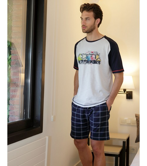 MASSANA SHORT SLEEVED PAJAMA WITH VESPAS